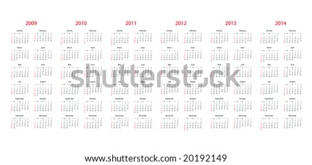 Simple calendar for 2009, 2010, 2011, 2012, 2013 and 2014. - stock vector