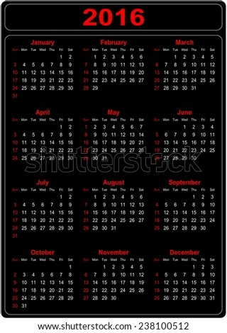 Simple Calendar for the year 2016 on a black background - vector - stock vector