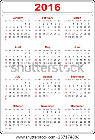 Simple Calendar for the year 2016 on a white background -vector - stock vector