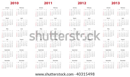 Simple calendar for years 2010, 2011, 2012 and 2013. - stock vector