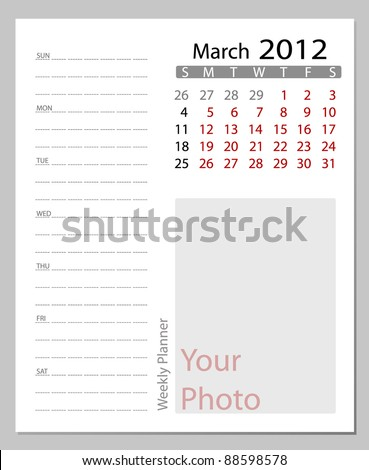 Simple 2012 calendar, March.  All elements are layered separately in vector file. Easy editable. - stock vector