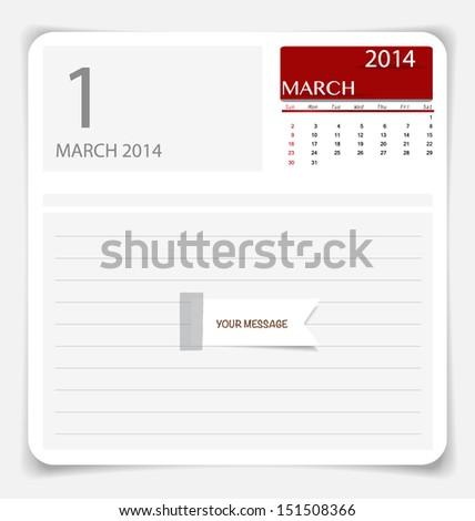 Simple 2014 calendar, March. Vector illustration. - stock vector