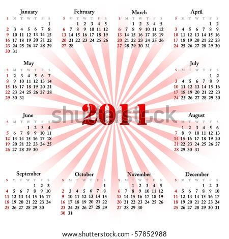 Simple calendar of 2011. Vector illustration. - stock vector