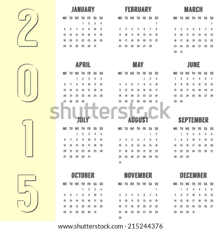 simple calendar of 2015 year with the yellow side. vector illustration