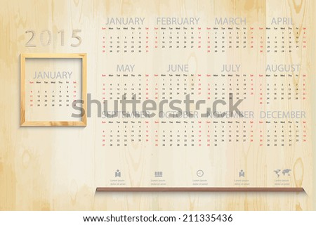 Simple 2015 calendar on Picture wood frame background and business icon, eps vector illustration - stock vector