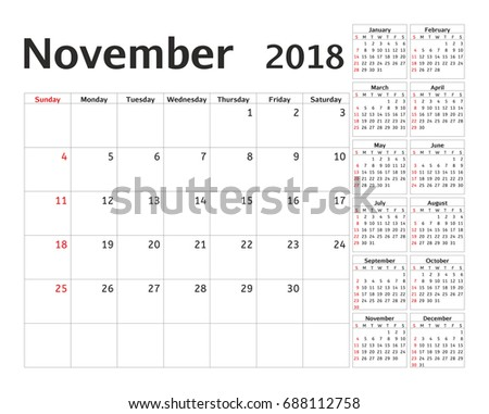 Simple Calendar Planner 2018 Year Calendar Stock Vector 688112758