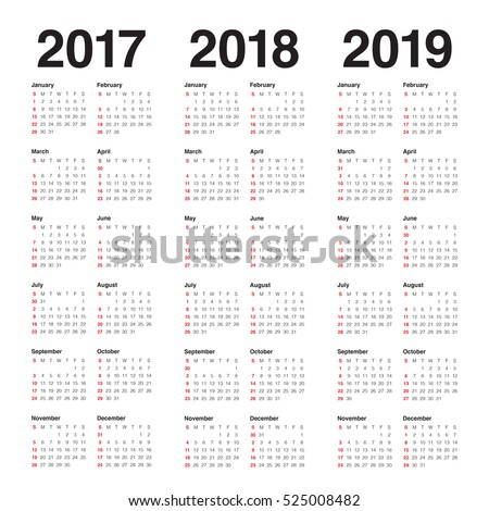 Simple Calendar template for 2017, 2018 and 2019