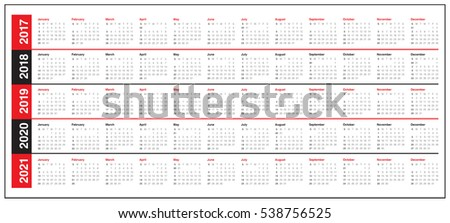 Simple Calendar Template 2017 2018 2019 Stock Vector 538756525 ...
