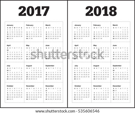 Simple Calendar template for year 2017 and year 2018
