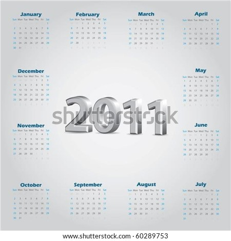 Simple 2011 calendar with 3d text - stock vector