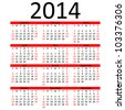 Simple 2014 Calendar with Red Bar (EPS 10) - stock photo