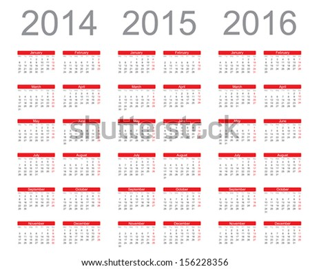 Simple Calendar year 2014, 2015, 2016, vector - stock vector