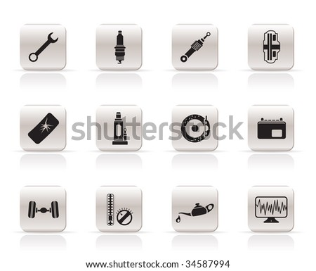 Simple Car Parts and Services icons - Vector Icon Set 1 - stock vector