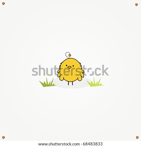 simple card illustration of a funny cartoon chicken - stock vector
