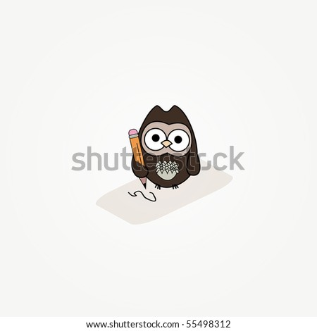 simple card illustration of cartoon owl with paper and pencil