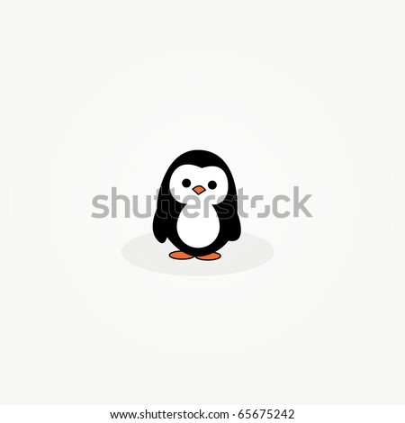 simple card illustration of cartoon penguin - stock vector
