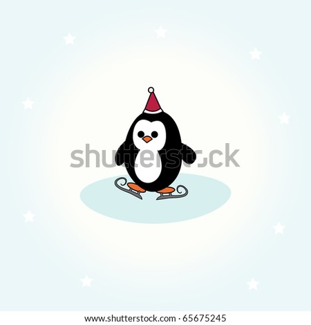 simple card illustration of cartoon penguin with christmas hat and ice skates - stock vector