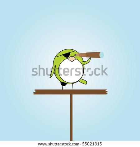simple card illustration of cartoon pirate bird on platform - stock vector