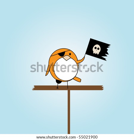 simple card illustration of cartoon pirate bird with scull flag