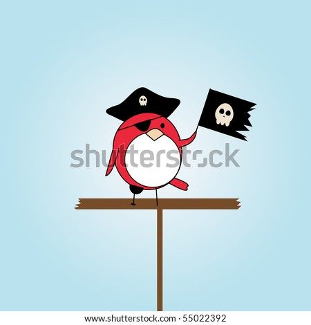 simple card illustration of cartoon pirate birdwith hat and scull flag - stock vector