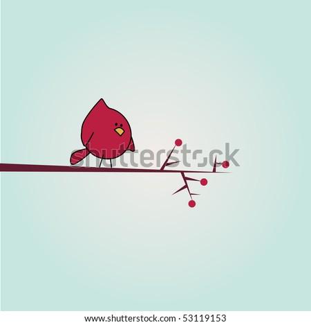 Simple card illustration of funny cartoon bird on branch - stock vector
