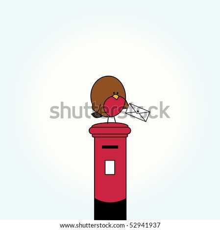 Simple card illustration of funny cartoon bird with a letter on top of post box - stock vector