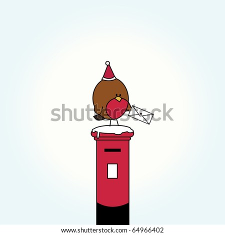 Simple card illustration of funny cartoon bird with a letter on top of post box  with christmas hat and snow - stock vector