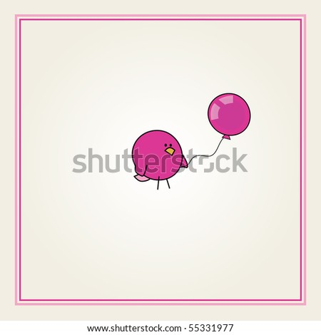 simple card illustration of funny cartoon bird with a pink balloon for girls