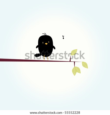 Simple card illustration of funny cartoon black bird on branch - stock vector