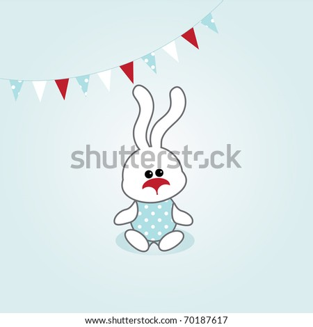 simple card illustration of funny cartoon rabbit with party bunting - stock vector