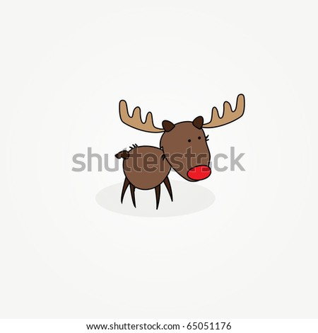"Simple card illustration of ""Rudy"" the reindeer with a red nose"
