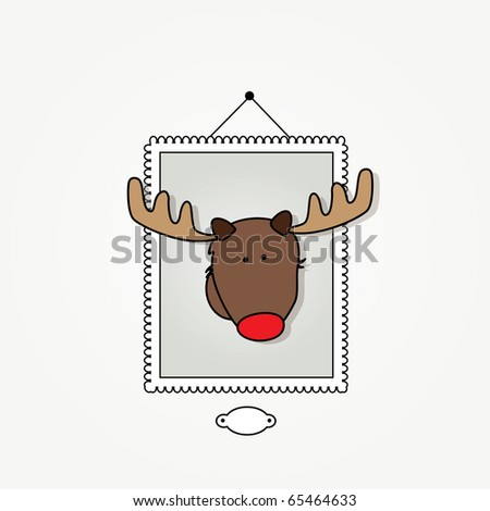 "Simple card illustration of ""Rudy"" the reindeer with a red nose  hanging as a trophy"
