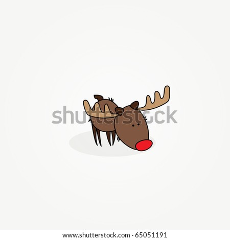 "Simple card illustration of ""Rudy"" the reindeer with a red nose sniffing the ground"