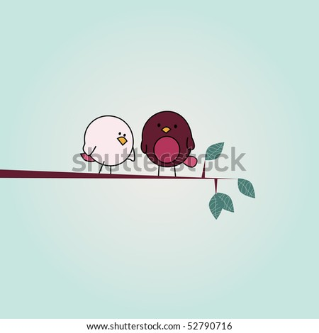 simple card illustration of two funny cartoon birds on a branch
