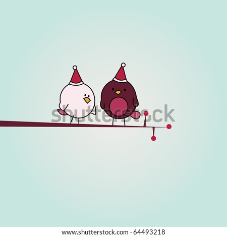simple card illustration of two funny cartoon birds with christmas hats on a branch - stock vector
