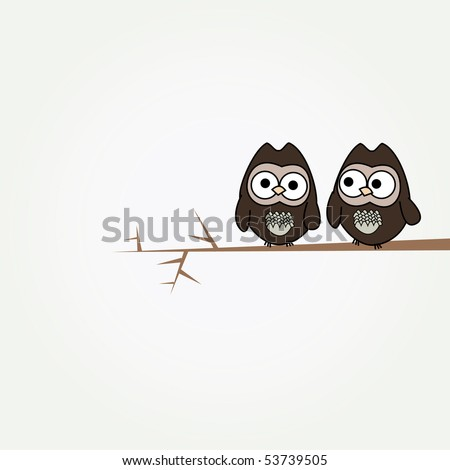 simple card illustration of two funny cartoon owls on a branch - stock vector