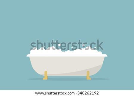 simple cartoon bubble bath - stock vector