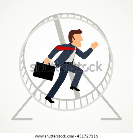 Simple cartoon of a businessman in hamster wheel, business, exploitation, trapped, exhausted, pressure concept - stock vector