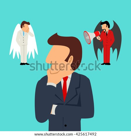 Simple cartoon of a businessman with an angel on his right and the devil on his left. Business, decision, contradiction concept - stock vector