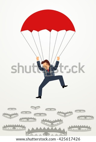 Simple cartoon of a businessman with parachute falling into bear traps. Business, survival, placement concept - stock vector