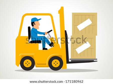 Simple cartoon of a man driving a forklift - stock vector
