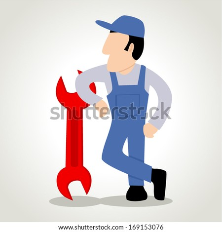 Simple cartoon of a man figure with a wrench - stock vector