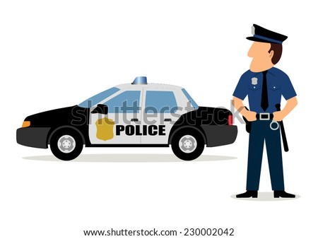 Simple cartoon of a policeman and police car - stock vector