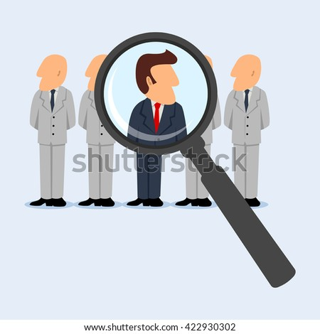 Simple cartoon of business concept for looking for the right person for the right position. Promotion, human resources, candidate, head hunter, investigate concept - stock vector