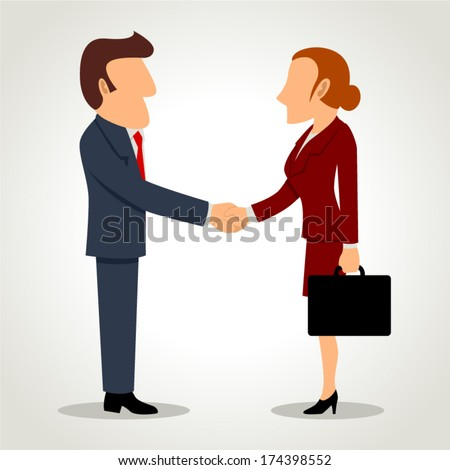 Simple cartoon of businessman and businesswoman shaking hands - stock vector