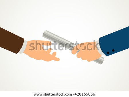Simple cartoon of businessmen hands passing the relay baton, business, teamwork, replacement, concept