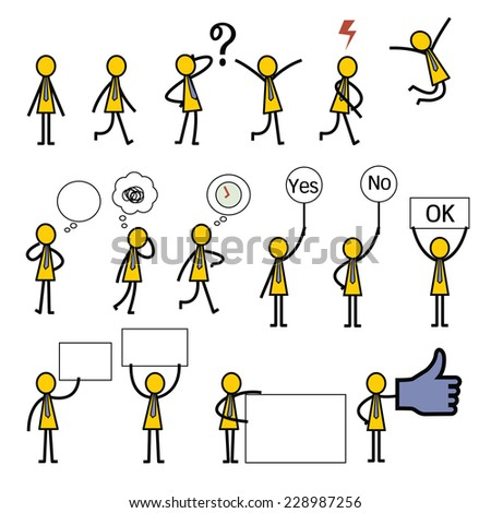 Simple character of businessman in many gestures and action.    - stock vector