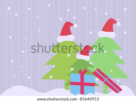 Simple christmas background with trees and gifts - stock vector