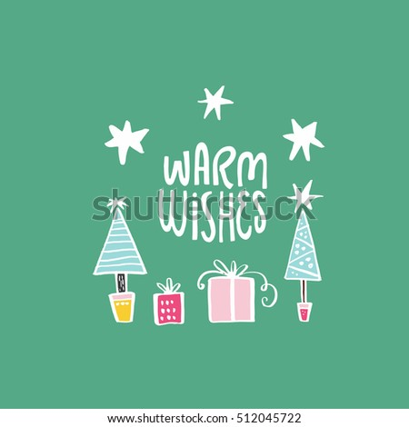 simple christmas card design handdrawn illustration stock vector