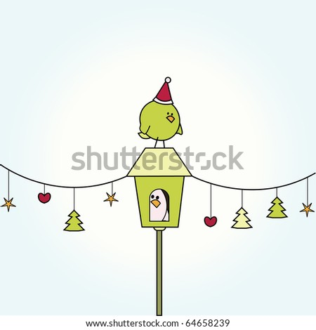 Simple christmas card illustration of funny cartoon bird on top of bird house with row of ornaments